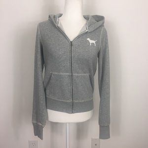 VS Pink Grey Zip Up Sweatshirt with Sparkle Heart